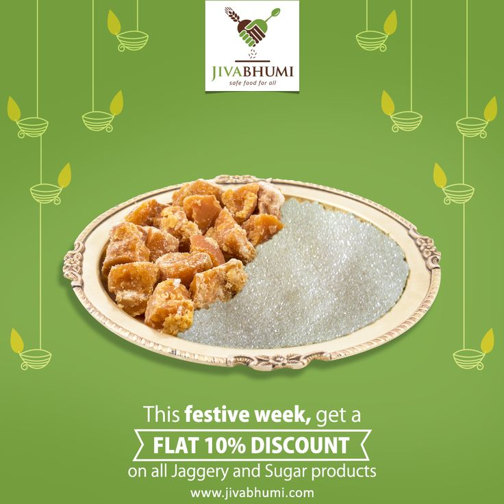 A sweeter and healthier #Diwali is here! Avail a FLAT 10% off on all Jaggery and Sugar products through this festive week and an early delivery too. Order before Tuesday 17th Oct 1:00 PM get your supplies just in time for the festivals on Wednesday 18th Oct. Happy Deepavali! | https://shop.jivabhumi.com #FestiveSeason #Deepavali #Discount #DiwaliDiscount