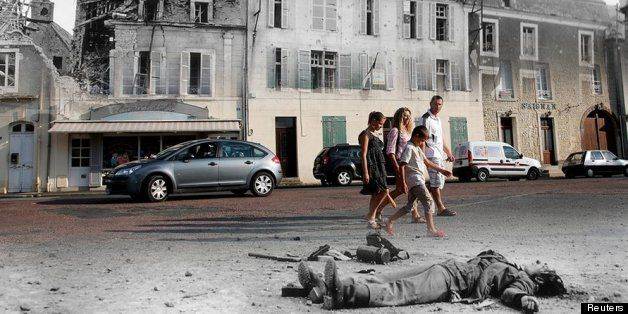 D day landing sites blended with current images. It is beautiful to see what they fought for.