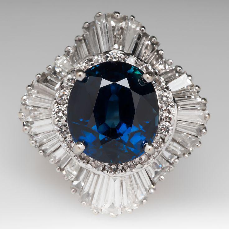 8 Carat Blue Sapphire & Diamond Ballerina Cocktail Ring