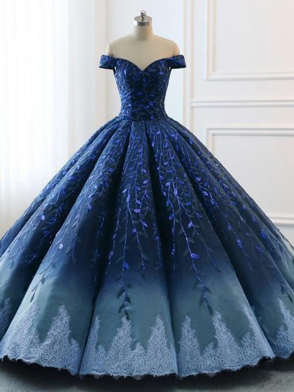 Navy Lace Applique Off Shoulder Ball Gown Princess Prom Dresses ,PD00137