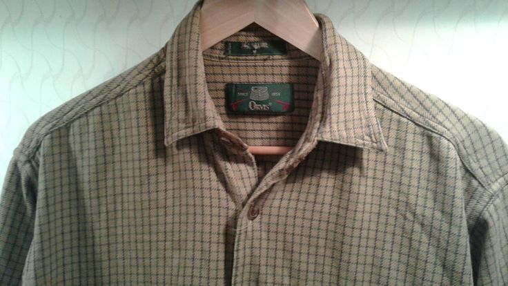 Orvis Mens Button Up Shirt Size Medium Tan Check Pattern Super Soft #Orvis #ButtonFront