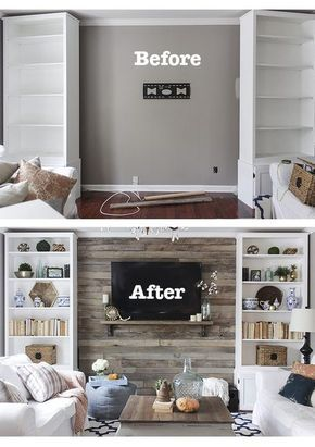 Add bookshelves & a TV for storage and decoration on a bare wall family room wall.