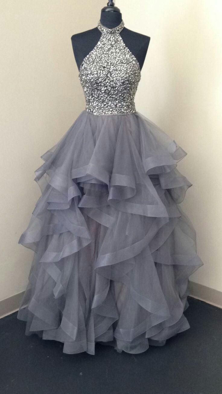 Sparkly Ballkleid Halfter Grau Lange Abendkleider, Elegante
