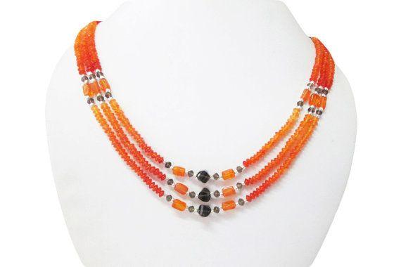 Carnelian & Smoky Quartz Multi strand Beads Handmade by anushruti