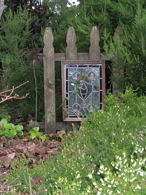 Gate with leaded glass window