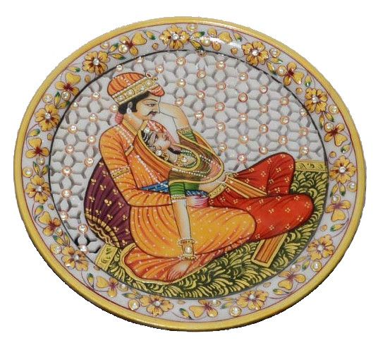Painting is depicting a traditional charm of lovers, their expressions, their postures are exhibit on marble using bright and traditional colors which will add beauty to your house. Chiseled on white marble and garnished with gold, blue, green and yellow color, it oozes splendor from every angle. Aesthetically designed plate is studded with white faux crystals. Click here to buy this product - www.kalakhoj.com
