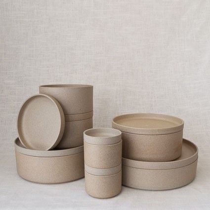 Designed by Taku Shinomoto and made in Japan. The Hasami series of stackable dinnerware can also be used as modular containers. Each piece is kiln-fired without glaze, leaving the surface feeling similar to terracotta.