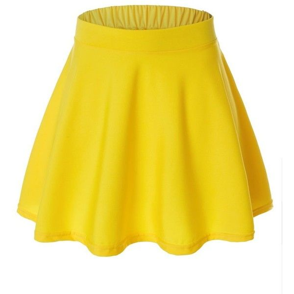 Womens Versatile Flared Skater Skirt at Amazon Women's Clothing store: (£3.85) ❤ liked on Polyvore featuring skirts, flared skater skirt, flared skirt, yellow skater skirt, knee length flared skirts and yellow circle skirt