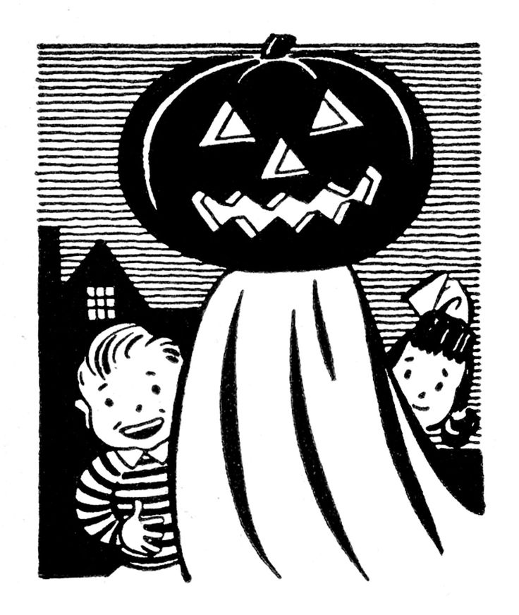 Vintage Halloween Clip Art | Retro Clip Art - Pumpkin Head Ghost with Kids - The Graphics Fairy