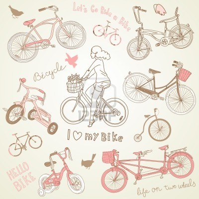 Vintage bicycle set and a beautiful girl  riding a bike Stock Photo