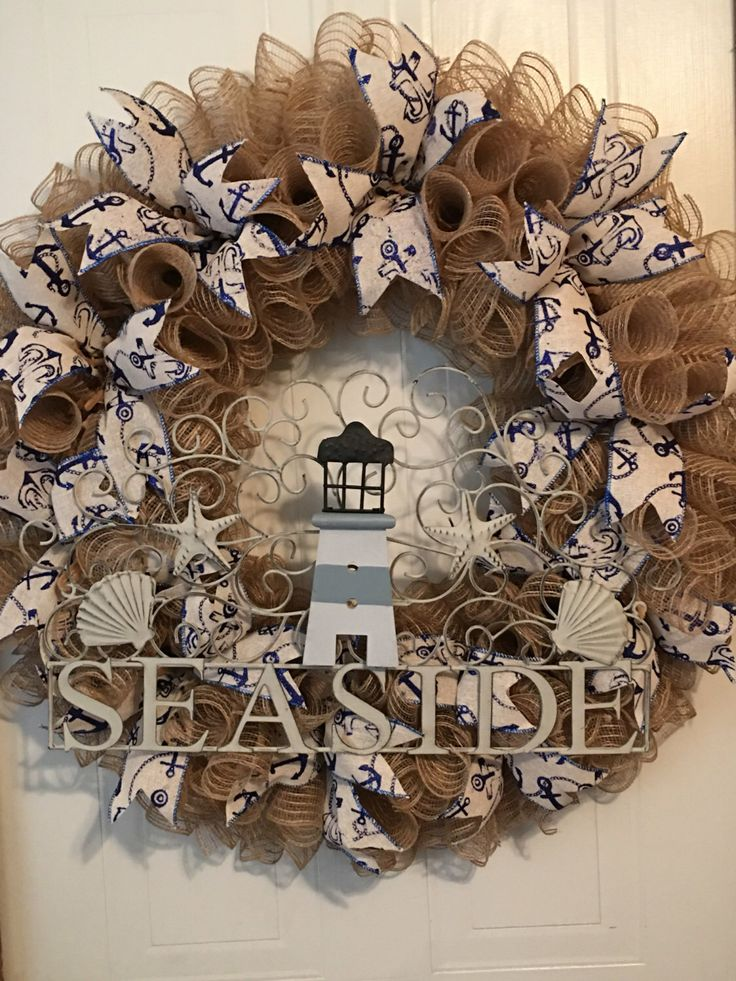 starfish wreath wreaths door coastal nautical burlap on house time doors summer beach pin