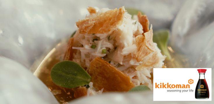 Kikkoman soy and shitake dashi , Brixham crab and roast chicken skin recipe by professional chef Simon Hulstone