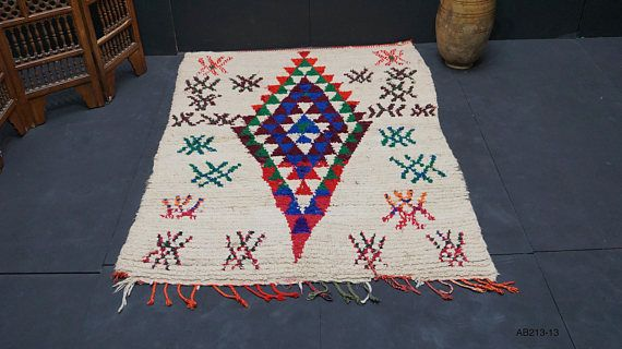 Azilal blue berber rug 4x6 Rug BOUCHEROUITE vintage berber rug