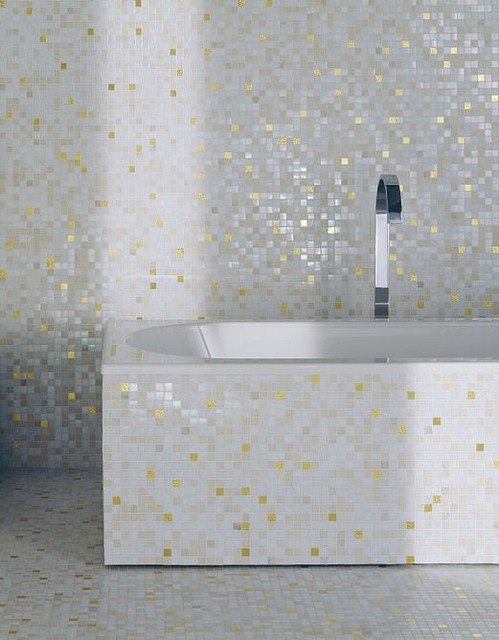 Mosaic Tile Bathroom With Bisazza White Gold Tile