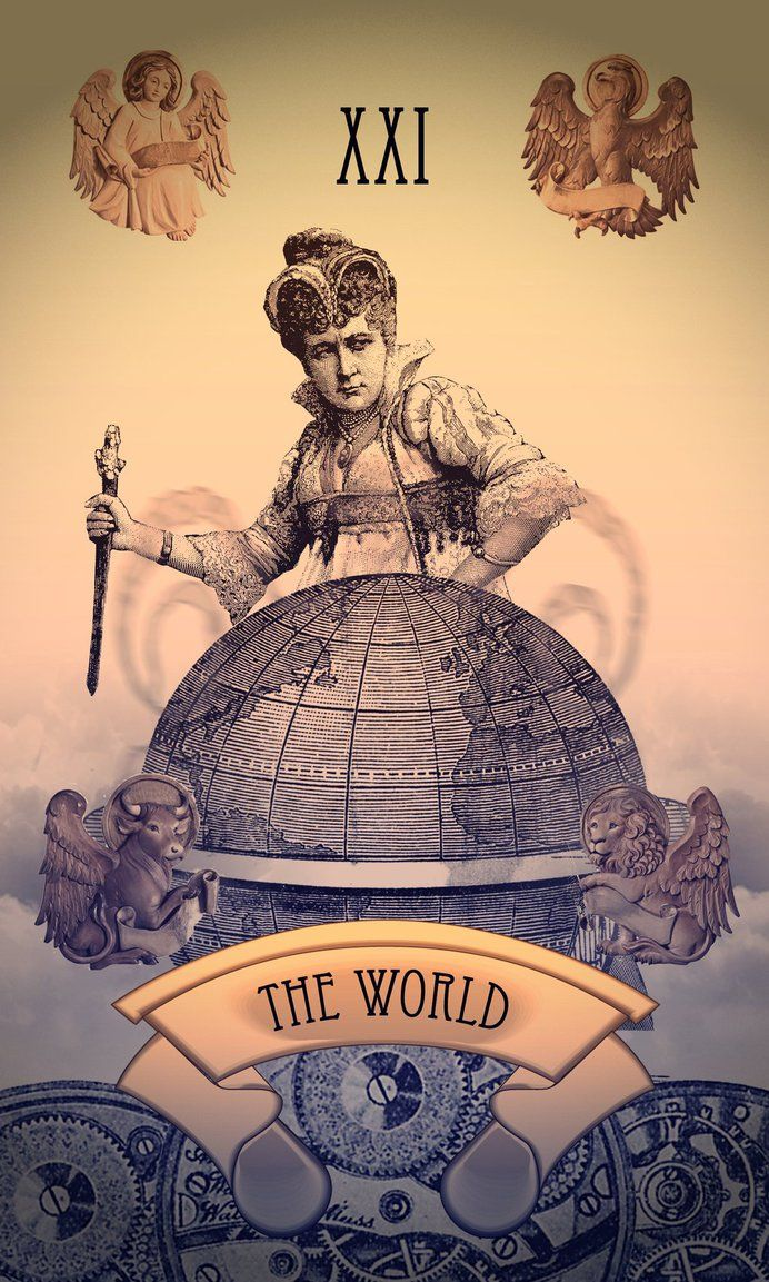 Steampunk Tarot Card: The World By Tiabryn71