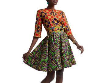 Kente jurk met taille cape.  U kunt andere opties van de stof voor het onderste gedeelte van de jurk hier: https://www.etsy.com/shop/SleekLife?ref=hdr_shop_menu&section_id=20698829  Jurk lengte: 61   Bedankt voor het winkelen
