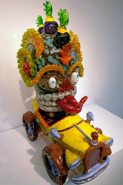 """Buggy Skull"", 2010, blown glass and mixed media, 26"" x 22"" x 10"" De la Torre Brothers"