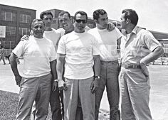 """This photo from the book """"Shadow of My Father"""" by John (Junior) Gotti shows (l. to r.) unknown, Frankie DeCicco, George Remini, John Gotti, unknown and Mickey Boy Paradiso at Lewisburg Federal Penitentiary in 1970."""