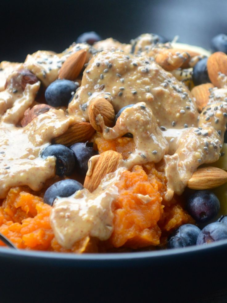 Monkey Breakfast Bowl - sweet potato mash topped with banana, blueberries, almonds and almond butter