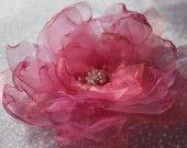 Coquelicot rose poudré avec reflets orangés 10 cm : Accessoires coiffure par emeeeline