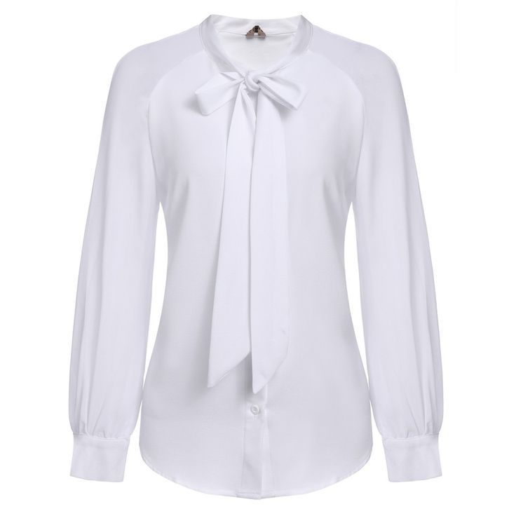 Women Blouses With Bow Tie OL Work Blouse, Black, White