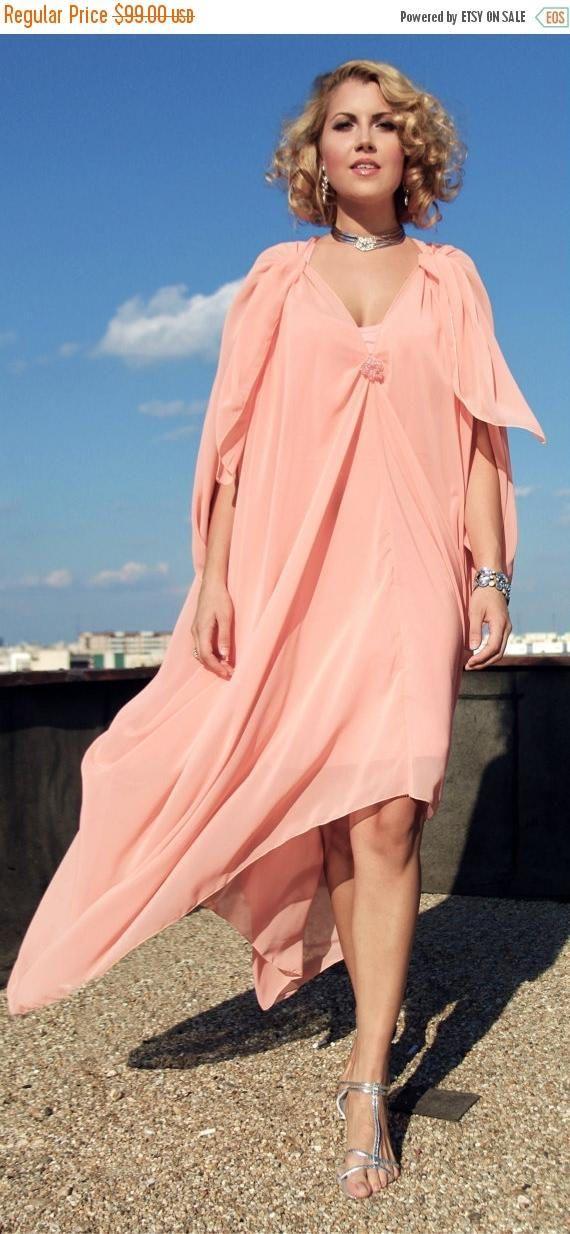 SALE 20% OFF Coral Maxi Dress Light Coral Caftan Elegant