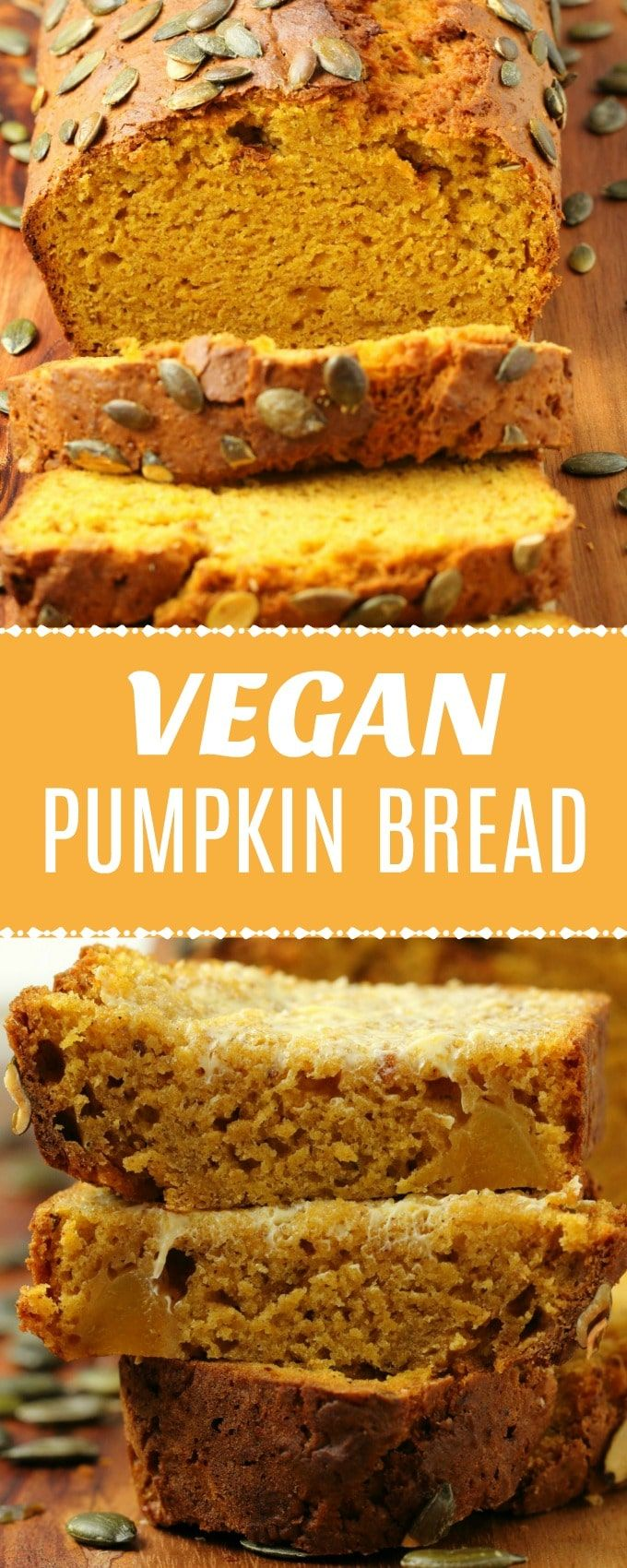 Moist and deliciously spiced vegan pumpkin bread topped with pumpkin seeds and p…