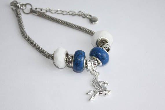 Pegasus Charm Bracelet Blue and White Beads - Three C Jewelry