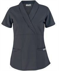 Butter-Soft Scrubs by UA™ Solid Shawl Collar Mock Wrap Top Style #  UAS686C #uniformadvantage #scrubs #nursing #pewter #granite