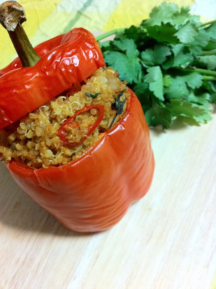 Red Curry Quinoa Stuffed Peppers. Used green curry because that's what I had