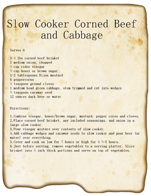 Slow Cooker Corned Beef and Cabbage Recipe, use beef stock instead of beer for a Gluten Free variation #stpattys