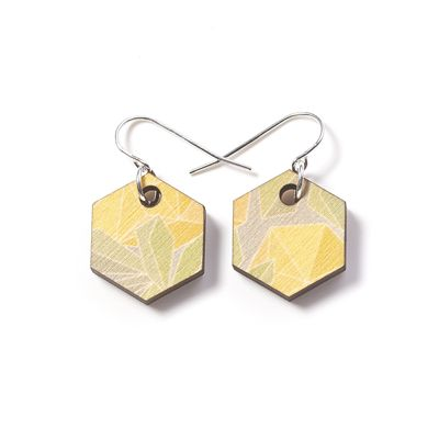 Printed Wooden Fractal Earrings - Wattle. By Polli.