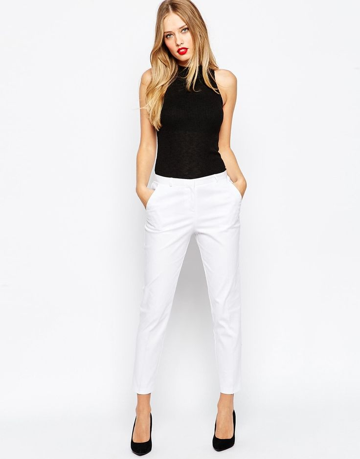 ASOS Cigarette Trousers in Cotton Sateen