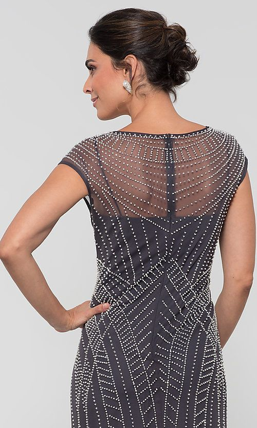 f524285f43 Image of silver-studded long Alex Evenings MOB dress. Style  AX-8116064  Detail Image 2
