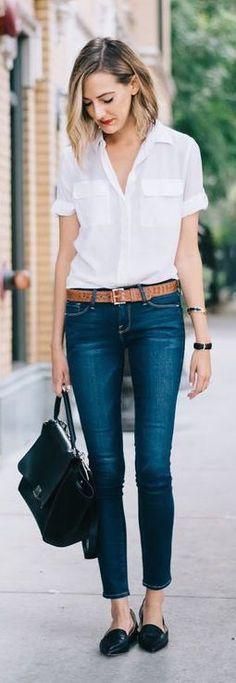 classic white button-down + jeans