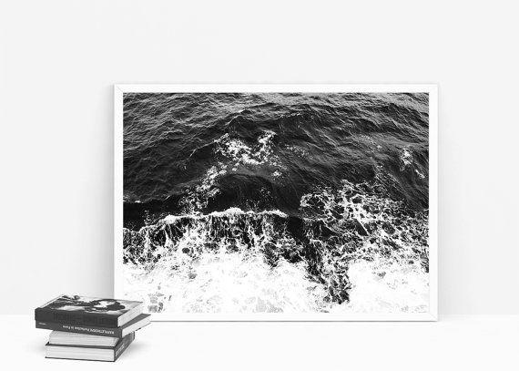 Ocean poster. Black ocean. Ripples. Wanderlust. por Byoliart
