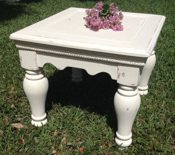 Shabby Chic end table - distressed and painted in Old White. 26 L 21 H 28 W  Have a wonderful day