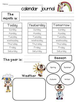Kindergarten Calendar Journal For All Seasons