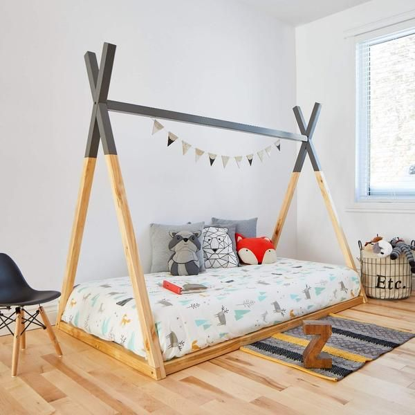 Teepee Bed Grey Top Square Poles Twin Size Pre Order Coco Village Usa In 2020 Teepee Bed Grey Bedding Toddler Rooms