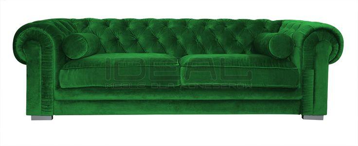 Sofy - Sofa Chesterfield Somerset - IdealMeble sofa chesterfield, zielona sofa, styl angielski, green