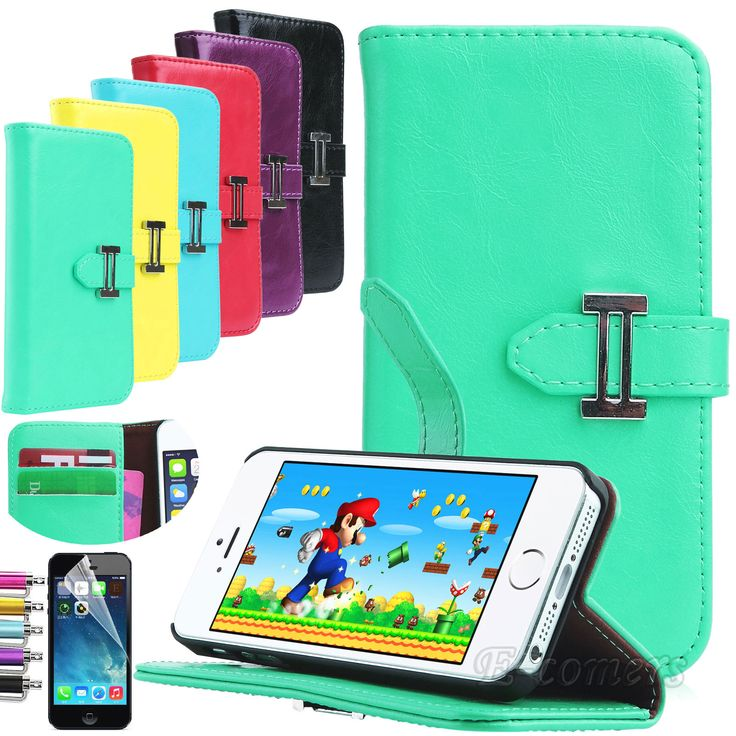 Fashion PU Leather Skin Folio Wallet Stand Cover Case for Apple iPhone 5S 5   eBay
