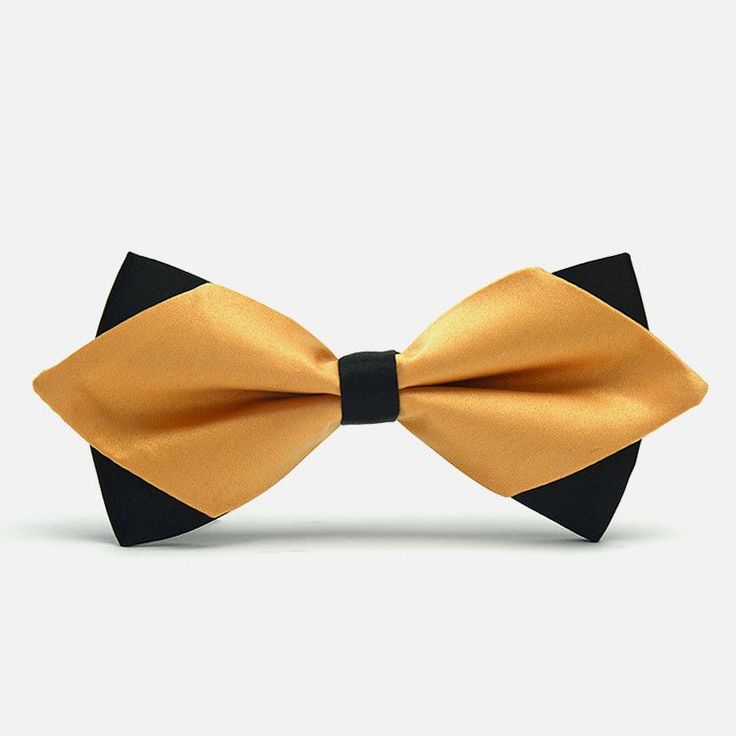 This bowtie is adventurously done with a lustrous gold accented by black tips and middle band. You certainly should not expect to blend in with this splendid bowtie especially if you match it with a t