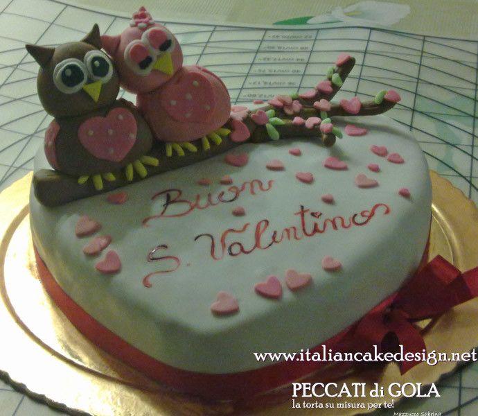 Torta San Valentino con gufi a forma di cuore con camy cream alla nutella e ganache al cioccolato al latte