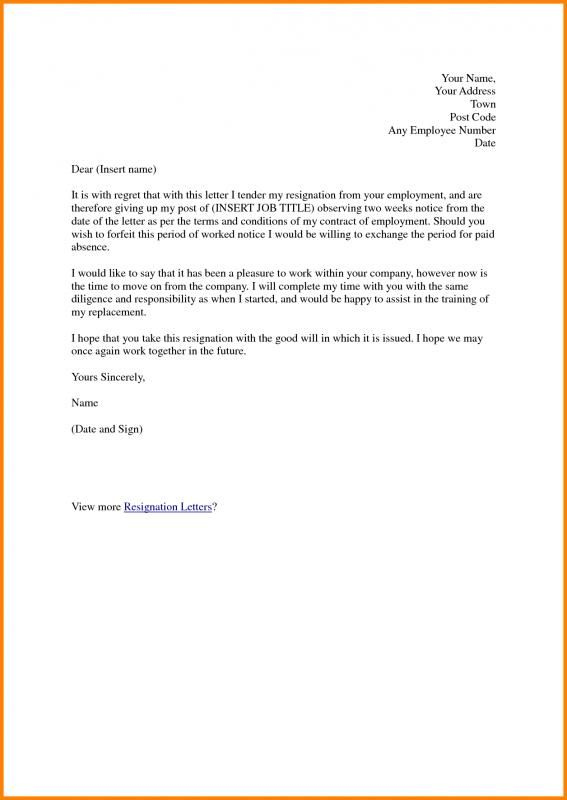 Two Weeks Notice Samples template Pinterest Resignation letter