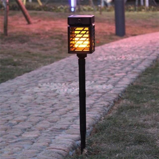 Torche Solaire De Jardin Effet Flamme Flambeau Led Trendszy Luminaire Solaire Lampes Solaires Lampe Solaire Jardin