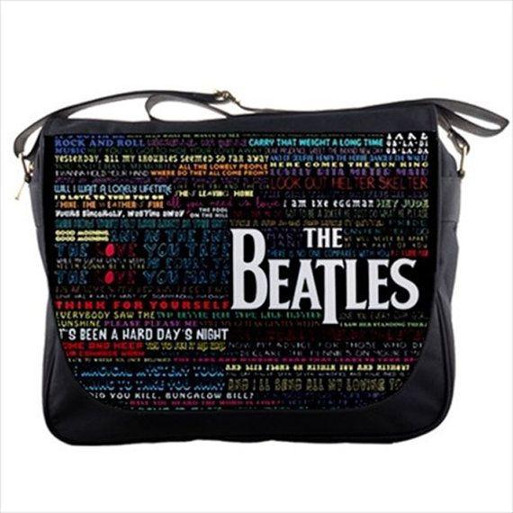 "The Beatles Song Titles Typography 14"" Messenger Laptop Notebook Tablet Computer School Sling Shoulder Bag Handbag Tote Custom Made"