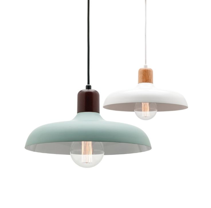 Madeline Pendant Light White or Duck Egg Green with Timber Mercator A62931, $109.00