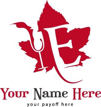 Un Logo personalizzabile per Cantine ed Agraria. Il logo presenta foglia di vite con in  sovrapposizione una E richiamante lattività  e un bicchiere di vino. Logo di facile riconoscimento, vive bene anche senza scritte