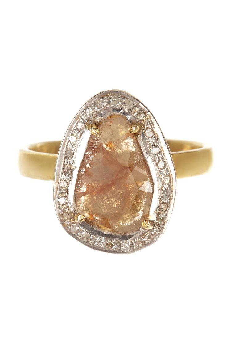 Sliced Champagne & White Diamond Ring on HauteLook