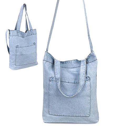 New Trending Shoulder Bags: Hoxis Multifunction Pocket Soft Denim Shoulder Handbag Womes Shopper Purse (Sky Blue). Hoxis Multifunction Pocket Soft Denim Shoulder Handbag Womes Shopper Purse (Sky Blue)   Special Offer: $10.90      355 Reviews Light Weight and Portabled.A smart and stylish shopper for toting your everyday essentials, Crafted from Soft Denim Fabric for casual appeal, this Hoxis Shoulder...